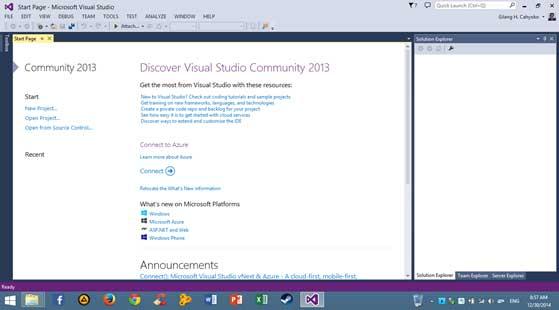 Visual Studio akan menampilkan halaman Start page